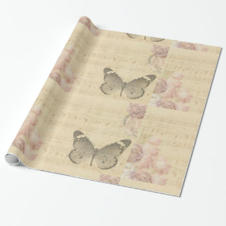 Butterfly and Music Notes Wrapping Paper