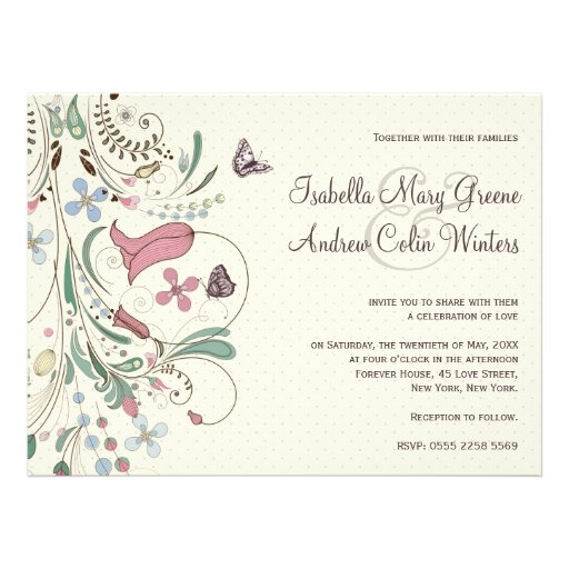 Butterfly and Polka Dots Wedding Invitation