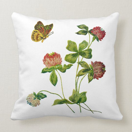 Butterfly and Red Clover Faux Embroidery Pillow