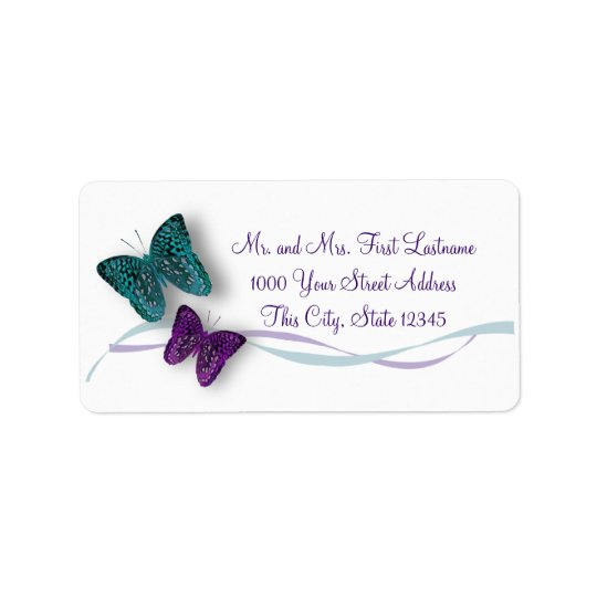 Butterfly and Ribbon Label