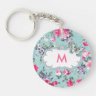 Butterfly and Roses Custom Monogram Gift Keychains