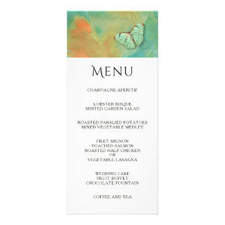 Butterfly and Southwest Colors Wedding Menu