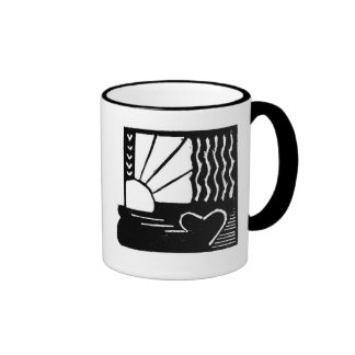 Butterfly and Sun Woodcut Cup Ringer Coffee Mug