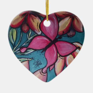 Butterfly and sunflower ceramic ornament