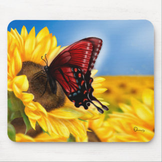 Butterfly and Sunflower Mouse Pad