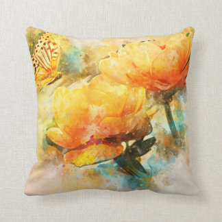 Butterfly and Yellow Flowers Watercolor Style Throw Pillow