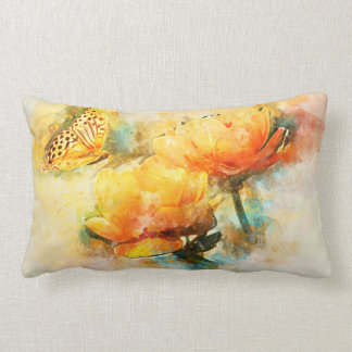 Butterfly and Yellow Spring Flowers Watercolor Lumbar Pillow