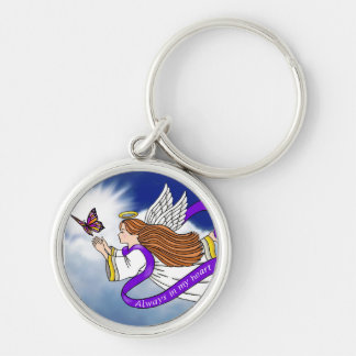"""Butterfly Angel"""" Silver-Colored Round Keychain"""