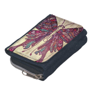 Butterfly Art Wallet - denim