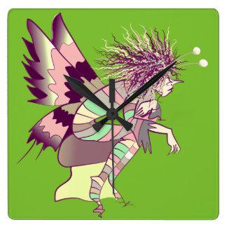 Butterfly Artistic Fantasy Fairy Unique Elf Cute Square Wall Clock