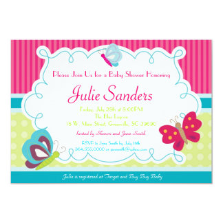 Butterfly Baby Shower Invitation, Butterflies Card