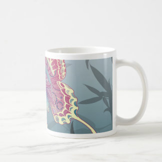 Butterfly Bamboo leaves Blue Unique Pattern Coffee Mug