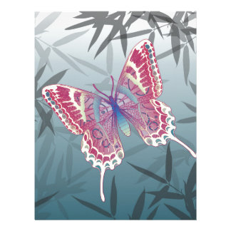 Butterfly Bamboo leaves Blue Unique Pattern Letterhead