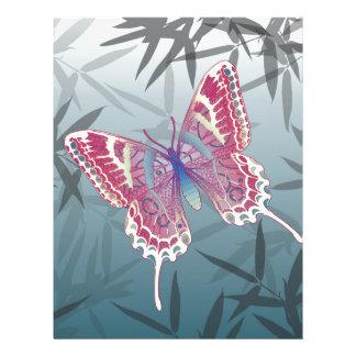 Butterfly Bamboo leaves Blue Unique Pattern Letterhead