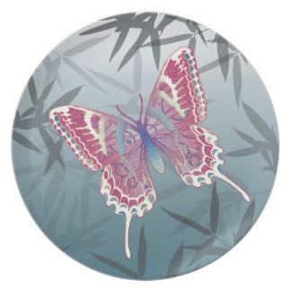Butterfly Bamboo leaves Blue Unique Pattern Party Plate