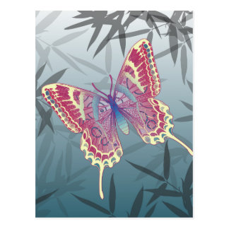 Butterfly Bamboo leaves Blue Unique Pattern Postcard