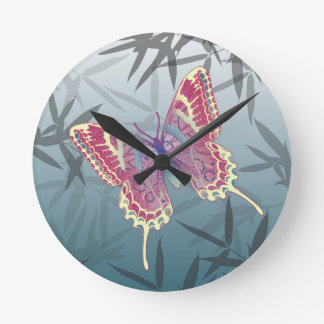 Butterfly Bamboo leaves Blue Unique Pattern Round Clock