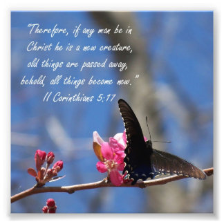 Butterfly Baptism 2 Corinthians 5:17 Verse Print