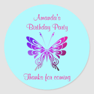 Butterfly Birthday Party Thank You Classic Round Sticker