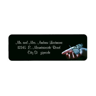 butterfly blue black address labels