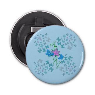 Butterfly Blue Button Bottle Opener