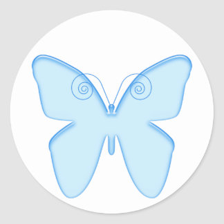 Butterfly blue classic round sticker