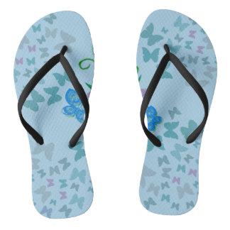 Butterfly Blue Flip Flops