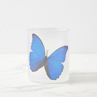butterfly blue morpho wings frosted glass mug