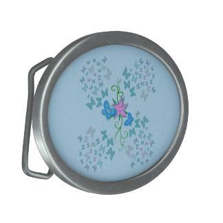 Butterfly Blue Oval Belt Buckle