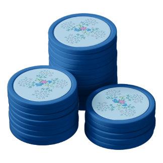 Butterfly Blue Poker Chips Set