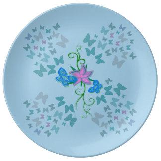 Butterfly Blue Porcelain Plates