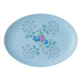 Butterfly Blue Porcelain Serving Platter