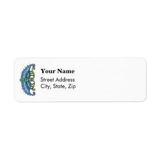 Butterfly Blue Return Address Label