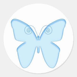 Butterfly blue round sticker