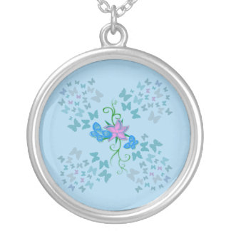 Butterfly Blue Silver Plated Necklace