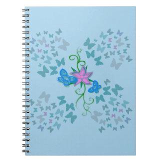 Butterfly Blue Spiral Notebook