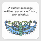 Butterfly Blue Square Sticker
