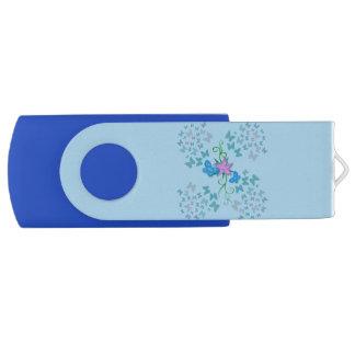 Butterfly Blue Swivel USB 2.0 Flash Drive