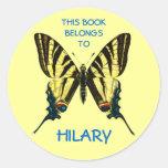 Butterfly Book Labels Round Sticker