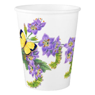 Butterfly Botanical Flowers Floral Paper Cup