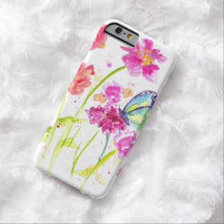 Butterfly Bright Pink Watercolor Wildflower Barely There iPhone 6 Case