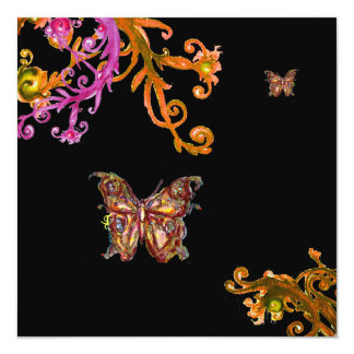 """BUTTERFLY , bright pink yellow black 5.25"""" Square Invitation Card"""