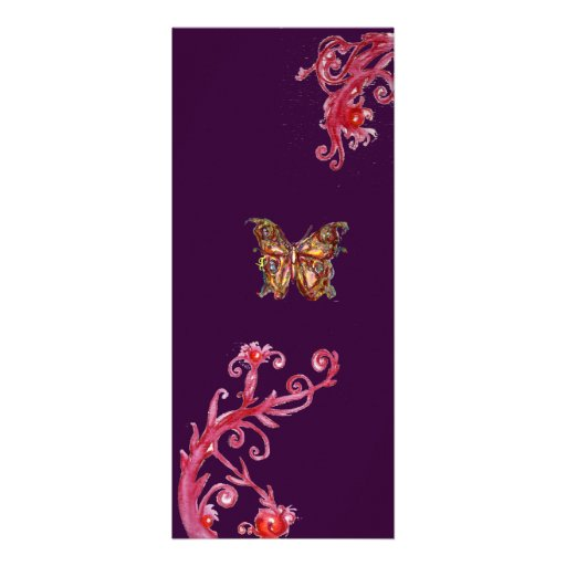 BUTTERFLY , bright red purple Personalized Invitations