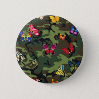 butterfly camouflage 2 inch round button