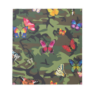 butterfly camouflage notepad