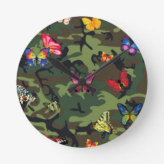 butterfly camouflage round clock