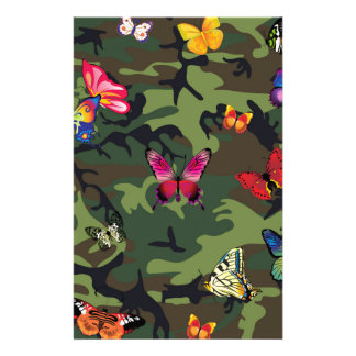 butterfly camouflage stationery