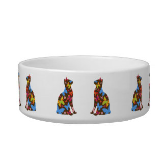 Butterfly Cat Feeding Bowl - Brown Pet Water Bowl