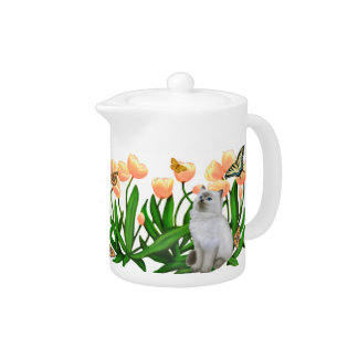 Butterfly Cats in Tulips Teapot