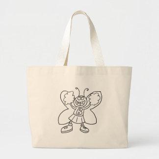 Butterfly Cheerleader Large Tote Bag
